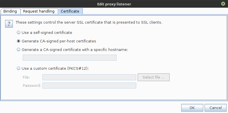 burp signed certificate per host
